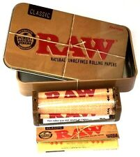 RAW Metal Tobacco Metal Tin 70mm Regular Roller and RAW Standard Rolling Papers