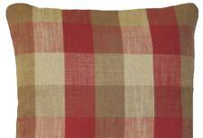 Red Checks Cushion Cover Oban Checked Ian Mankin Organic Fabric Rectangle