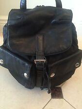 Prada Black BackPack Bag-Silver Trim Hardware with Nylon & Leather