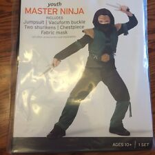 Youth Master Ninja Boy Halloween Costume Jumpsuit Mask Hood Large 12-14  NEW