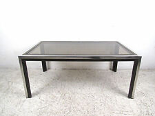 Mid-Century Modern Chrome and Smoked Glass Coffee Table (8412)NJ