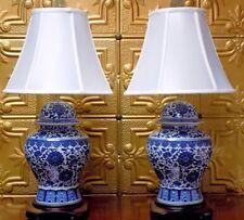 "28/29""  PAIR OF BLUE & WHITE JINGDEZHEN CHINESE PORCELAIN TEMPLE JAR VASE LAMPS"