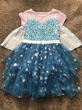 NWT Disney Frozen Elsa Tulle Dress Blue Cape Size 10-12