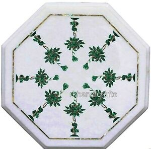 Beautiful Design Inlaid Bed Side Table Top White Marble Coffee Table 13 Inches