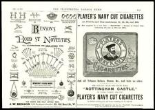 1896  Antique Print - ADVERTISING Players Navy Cut Cigarette Bensons Bond St (25