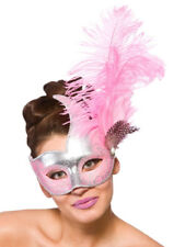 Ladies Masquerade Mask Fancy Dress Burlesque Carnival Revello Silver & Pink New