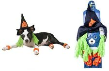Witch Costume for Dogs - S - 4 orange paw scrunchies - mini bells