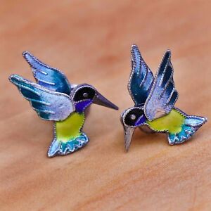 Vintage Sterling silver handmade earrings, 925 enamel hummingbird studs