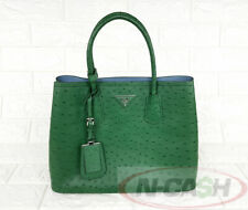 BIGSALE! RARE! AUTHENTIC $10650 PRADA Ostrich Struzzo Verde/Astral Tote Bag