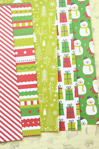 Red & Green Christmas Cartoon cardstock 250gsm scrapbooking paper craft cards