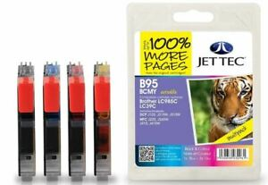Jettec LC985 B/C/M/Y Multipack Remanufactured Ink Cartridge for Brother, B95BCMY