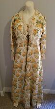 70s white orange floral acetate festival maxi dress w/ ruffle bolero jacket M L