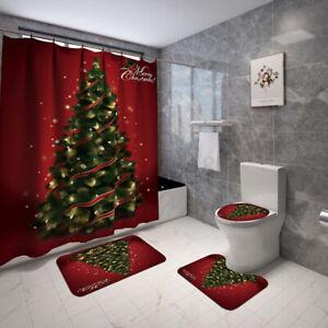 Merry Christmas Bathroom Shower Curtains+Toilet Seat Mat+Lid Pad Rug+Bath Decor