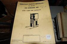Yale Modello NS 035 040 Ab 1814.5kg Carrello Elevatore Parti Manual Libro