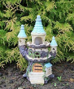 Solar Garden Ornament Powered Light Decorative Secret Fairy Castle Tree House