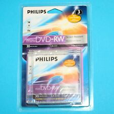 3x Philips mini DVD-RW 30 Minutes Video 1.4GB Data Sctratch Resist for Camcorder