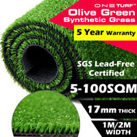 Olive 17mm Artificial Synthetic Grass 5-100SQM Turf Plastic Fake Faux Plant Lawn