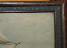 """Antique 12""""x9"""" 1920s 1930s Picture Frame Art Deco Gold Blue parrish STYLE"""