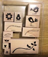Stampin' Up! 11 Wooden Mounted Rubber Stamps Stamping Cheep Talk Two-Step Birds