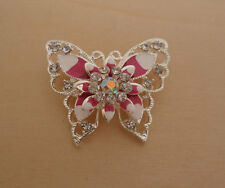 Pink Enamel and Crystal Butterfly Brooch