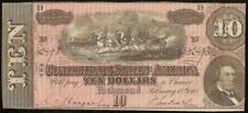 1864 $10 Dollar Bill Confederate States Currency Civil War Note Old Paper Money