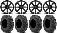 "MSA Black Clutch 14"" UTV Wheels 30"" MotoVator Tires Polaris Ranger XP 9/1K"