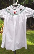 Lovely White Xmas Themed Baby Dress w/Hand Smocked & Embroidered Neckline sz1