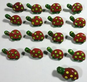 """Vtg JHB International Hand Painted Wood Novelty Whimsy BUTTONS Green Turtle 1"""""""