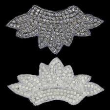 Clear Crown Beaded Crystal Rhinestone Applique Wedding Dress Sash DIY Craft Trim