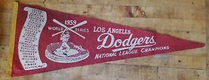 1959 Los Angeles Dodgers World Champions Felt Pennant Vintage Full Size Banner