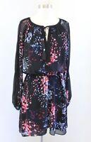 White House Black Market Black Blue Scattered Floral Print Tie Neck Dress Size 6