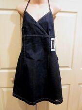 FUBU Classics DRESS WOMENS SIZE 14 Blue Denim Jean Halter STRETCH Summer Dress