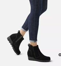 Sorel Evie Bootie Boots Black Suede Size 6.5 Women's Wedge Bootie