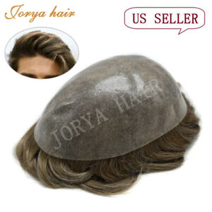 Full Poly Skin Men's Toupee with Human Hair Pu Hair Replacement System Units
