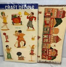 Decals Transfers 2pg Village Town Dancers Flappers Vtg Meyercord For Arts Crafts