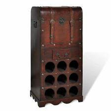 vidaXL Wooden Wine Rack for 9 Bottles with Storage Drink Bar Cabinet Holder