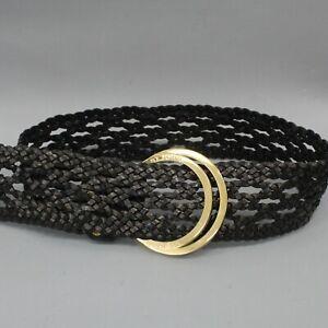 St. John Black Braided Leather Gold Tone Circle Buckle Waist Belt