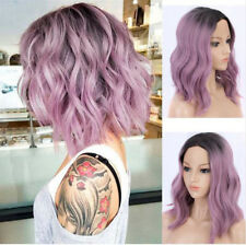 Costume Cosplay Wig Short Curly Wavy Two Tone Wigs Light Purple Lavender Ombre