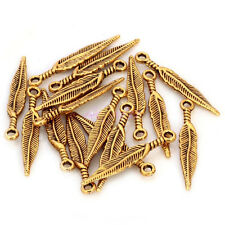 Gold 20 Pcs Tibetan Silver Long Feather Leaf  Charm Pendant Jewelry Finding
