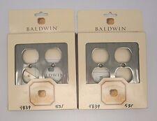 2 Baldwin 4839-531 Water-Polished Nickel Silver Double Duplex Switch Plate 767E