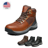 US Men's Mid Ankle Waterproof Work Boot Leather Outdoor Breathable Hiking Boots