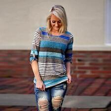 De Moda Para Dama Holgado camiseta blusa Manga Larga Informal Suéter Del Algodón