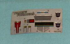 original G1 Transformers constructicon SCRAPPER UNUSED STICKER SHEET