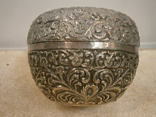 ANTIQUE 19THC CUTCH KUTCH ANGLO-NDIAN SILVER 925 MUGHAL TEA CADDY BOX MUSEUM