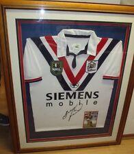 Brad Fittler (Sydney Roosters legend) signed vintage Roosters jersey framed