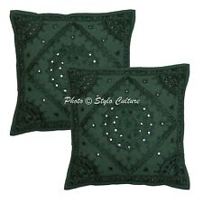 Ethnic Cotton Pillow Covers Green 16x16 Embroidered Mirrored Cushion Covers