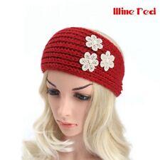 2018 Women Floral Crochet Headband Knit Pearls Hairband Ear Warmer Winter Turban Wine Red