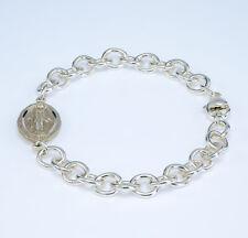 Sterling silver link Miraculous Medal bracelet.