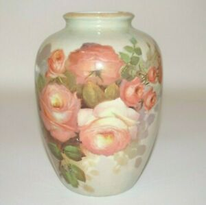"""Ceramic Painted Vase Floral Roses Light Green Background 8"""" Tall"""