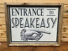 Antique Rustic Speakeasy Entrance Wooden Sign Bar Tavern Wall Decor 12x16